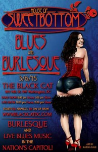 House of Sweetbottom Blues and Burlesque flyer by Steven Warrick with art by Karina Dale.  Original reference photo by Stereo Vision Photography.